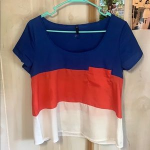Color block blouse with pocket
